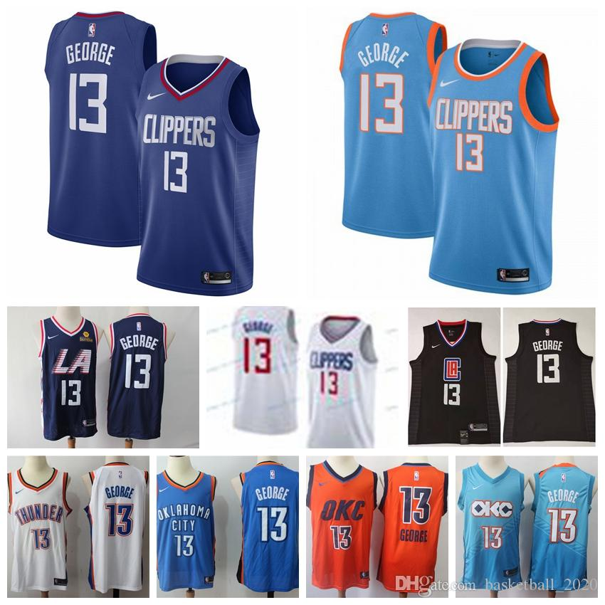size 40 18226 0411e 2019 2020 New Mens Clippers 13# Paul George Swingman Jersey Authentic  Embroidery Thunders 13# Paul George Basketball Jersey Stitched From ...