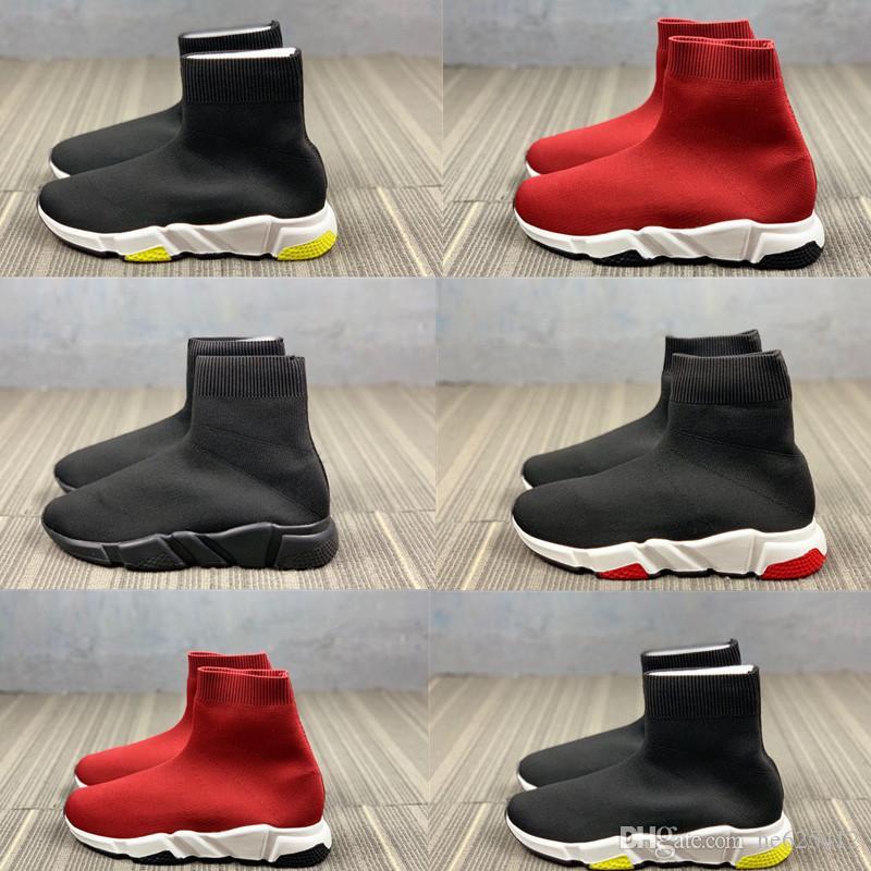 Infante juvenil para hombre Zapatos de las mujeres Zapatos del calcetín de punto plana zapatillas deportivas velocidad corredores niño de punto stretch chica chico corriendo Trainer