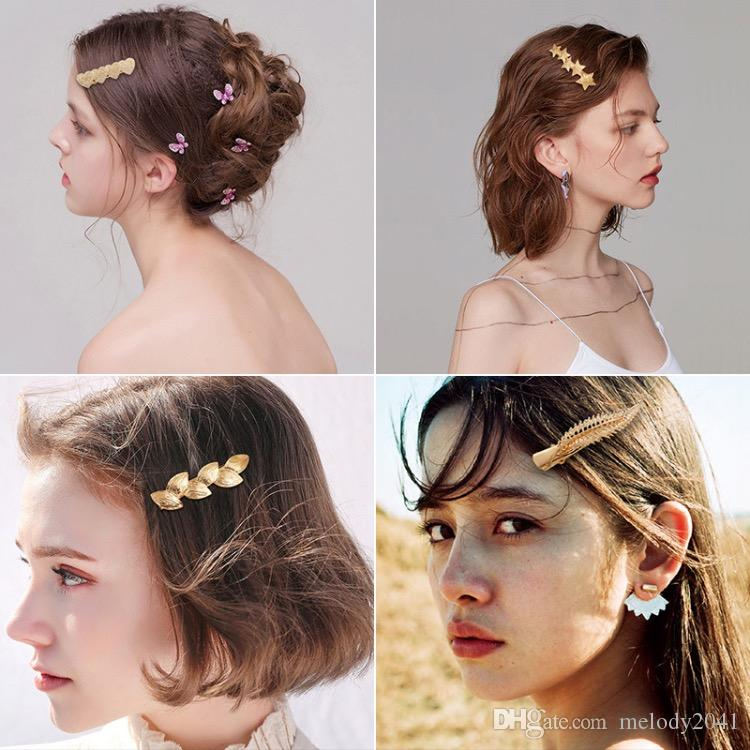 Ins Hot Alloy Gold Leaves Hair Clips With Pearls Simple Hairpin Side Duckbill Star Clip Bangs Wholesale
