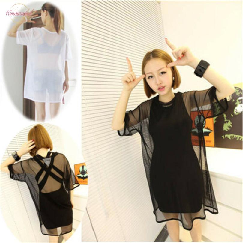 2020 إمرأة بنات مثير انظر من خلال شفاف طويل قميص تي شيرت مش شير الأسود أبيض قصير كم طويل الأعلى