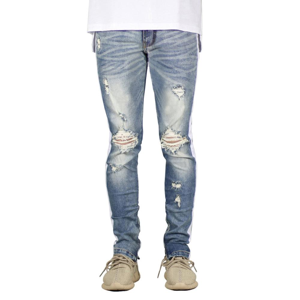 Holes Mens Pants Spring Hop Trousers Style Pencil Street Hip Mens Pants Jeans Casual Zipper Hkaiw
