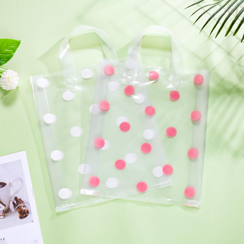 50pcs / lot 3 Sizes White Round Dots Pink Large Plastic Bags Boutique Giftment Plastic Shopping Storage