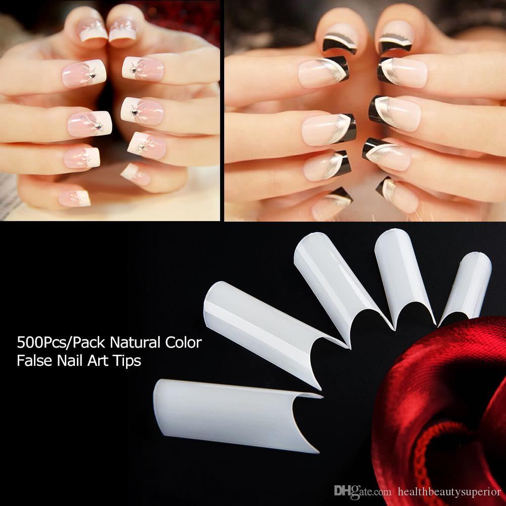 Полный ногтей плесень длинные ложные поддельные ногтей советы французский Наращивание ногтей акриловые УФ-гель маникюр инструмент 500 шт. / компл.