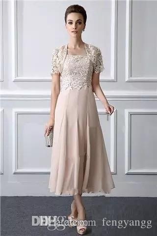 2020 Мода Спагетти Мать Невесты Платье С Кружевной Курткой Чай Длина С Коротким Рукавом Женщины Формальное Вечернее Платье Свадебные Платья Для Гостей