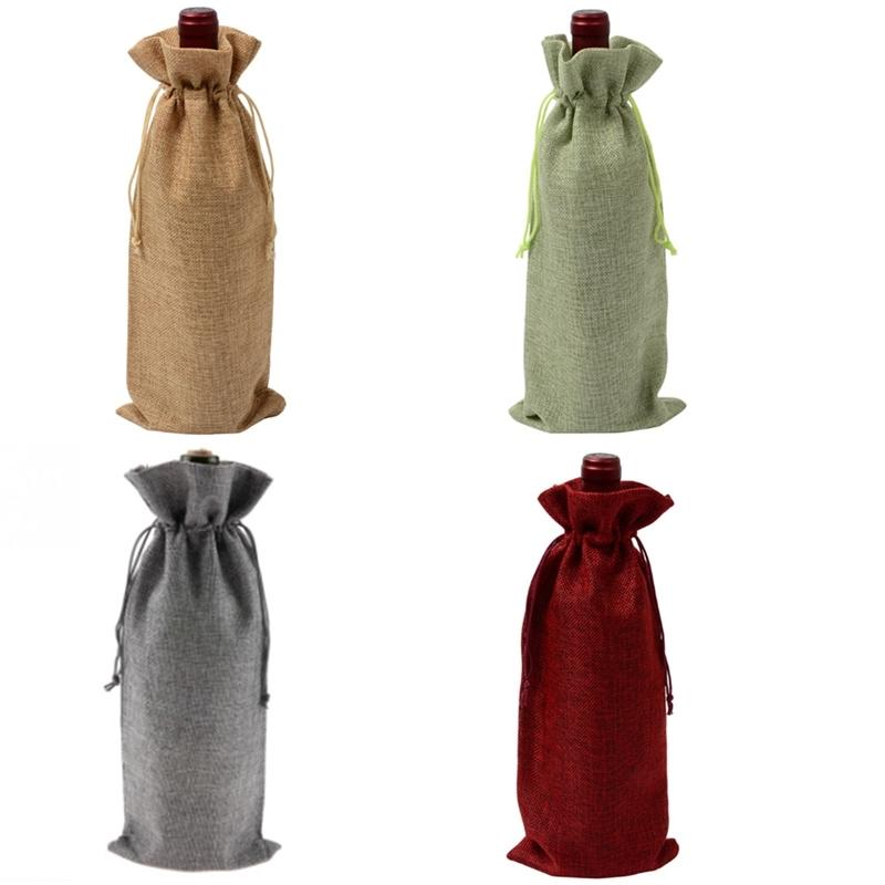 12Pcs Durable Wine Bags Non-Woven Fabric Linen Red Wine Bottle Glass Bag Travel Pouch Gift Weddings Reusable Weddings Packaging Kitchen Stor