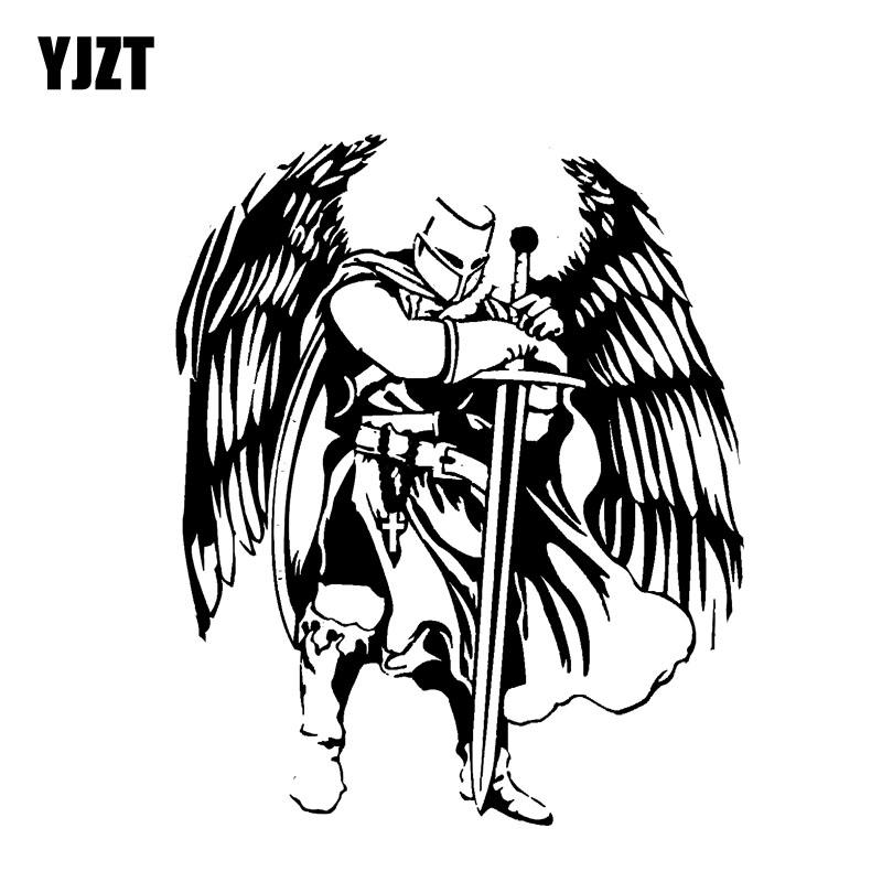 Car Stickers YJZT 12.3*15CM Handsome Warrior Knight Angel Decal Black/Silver Covering The Body Silhoutte Car Sticker Vinyl C20-1568