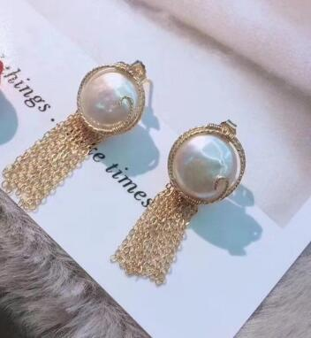 shuanyan gorgeous pair of south sea white round pearl earring 14k
