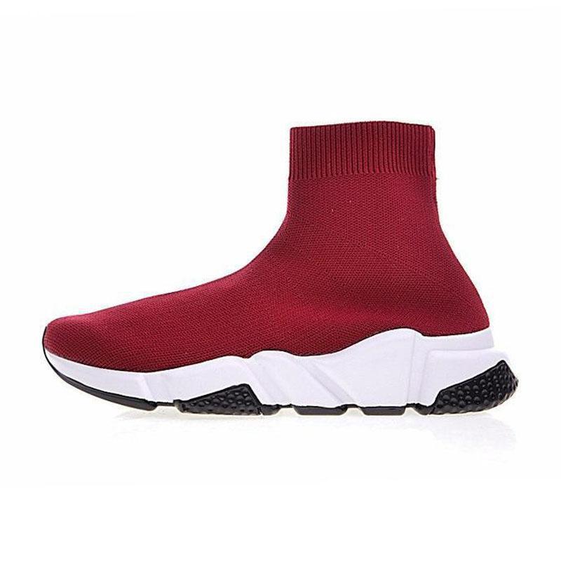 Ayakkabı bağı lüks Tasarımcı gündelik çorap Ayakkabı Hız Eğitmen Siyah Kırmızı Üçlü Siyah Moda Marka Çorap Çizme Sneaker Trainer shoe36-45 spor
