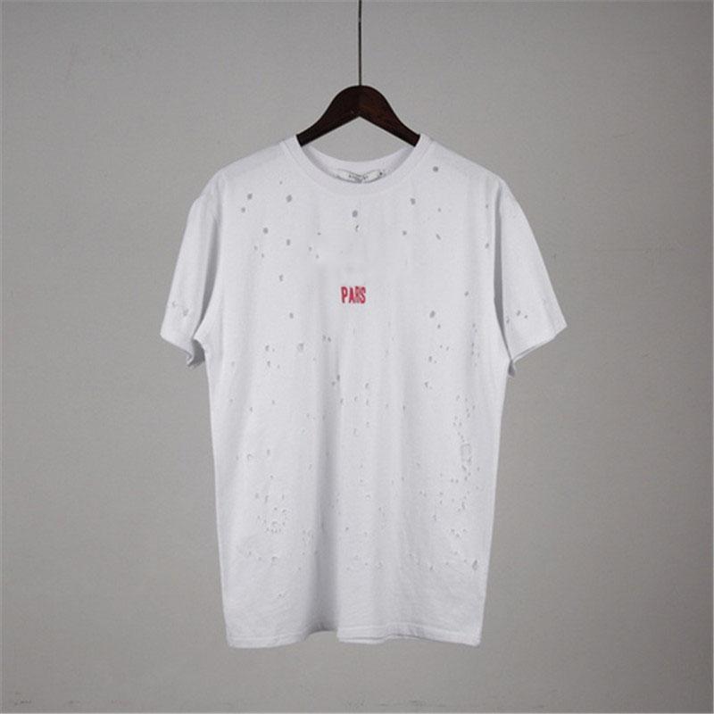 Shirts Mens di estate maglietta di stampa 2020 Mens e Maglia a manica corta Hole Camicia Copy lettera stampata girocollo Tops T S-2XL