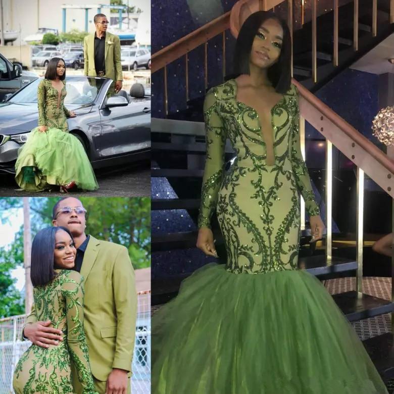 Afrique 2018 vert foncé sirène Robes de bal froncé Jupes Manches longues Paillettes Appliques Plongeant col en V Robes de soirée robe de réception