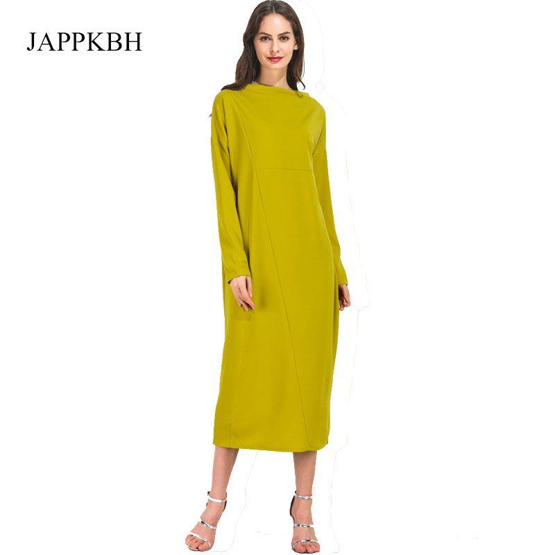 JAPPKBH Plus Size abito giallo donna autunno primavera casual manica lunga abiti da donna elegante allentato vestito sexy abiti vestire Femme