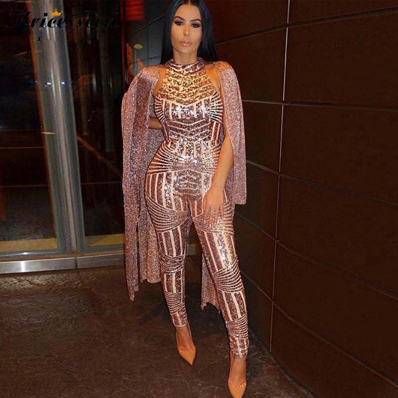 Kricesseen Popüler Altın Pullarda Tulum Romper Yaz Kadınlar Glitter Halter Açık Geri Parti Tulum Kadın tulumları Clubwear Y200106