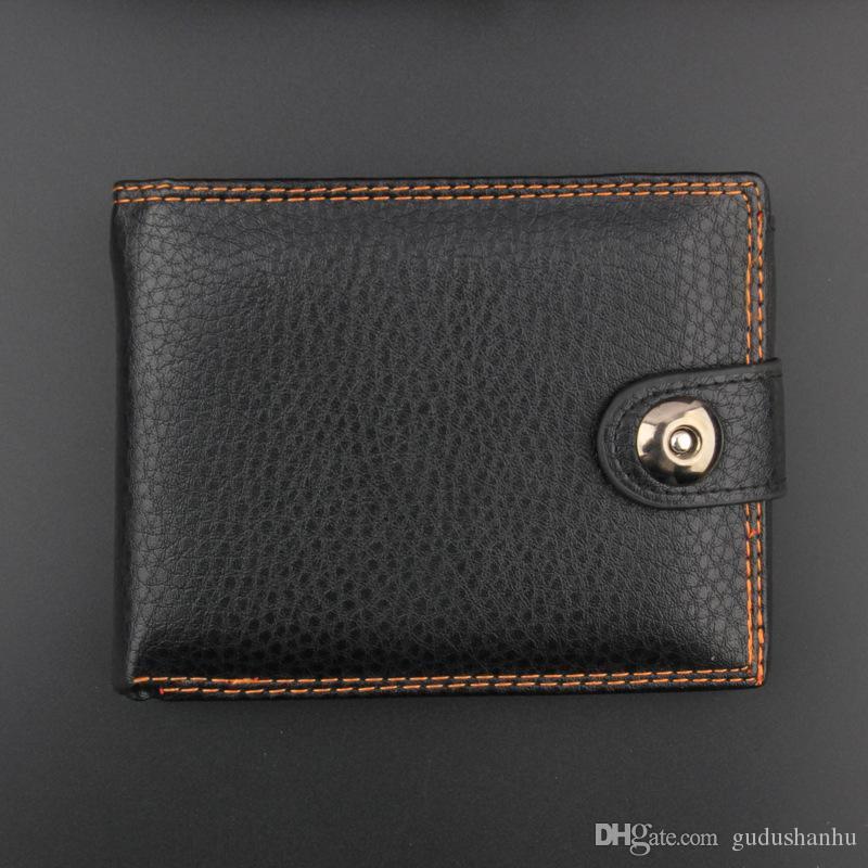 Neue High-End-PU-Brieftasche Herrenmode Buckle Casual Black Wallet TQ-087