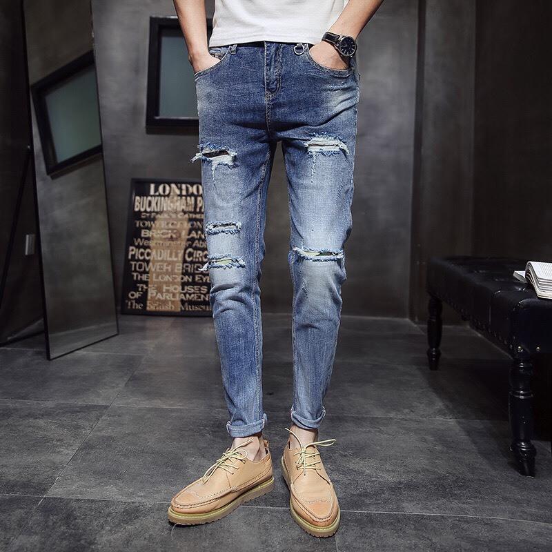 Мужские джинсы моды с разорванными мужчинами пэчворк выпущенные обрезанные брюки мужчина ковбои джинсовые мужские тонкие отверстие случайные брюки