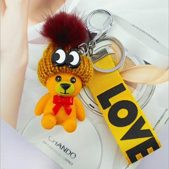 2020 Hat Медведь брелок Благоприятная Подвеска Творческий Смола ювелирные изделия сумка ключ Мобильный телефон Подвески горячий продавать аксессуары