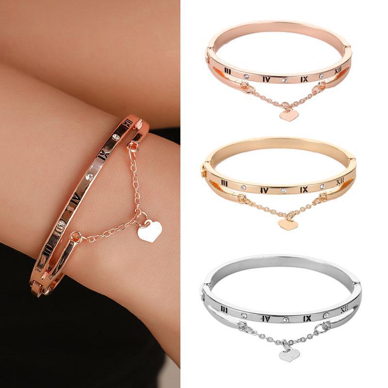 bracelets en acier inoxydable or rose bracelets cœur d'une femme pour toujours l'amour bracelet charme pour femme cadeau couple bijoux bijoux femme