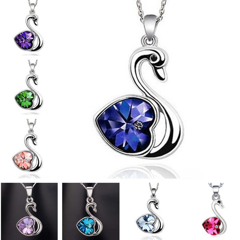 Collana di cristallo popolare cuore della pesca amore Little Swan ornamento ordine della miscela DAN101 pendente