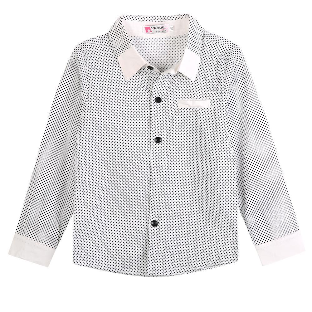 2020 quente preto e branco Crianças Meninos Formal Camisa Xadrez Casual Manga comprida lapela do partido Cotton Boy Shirt