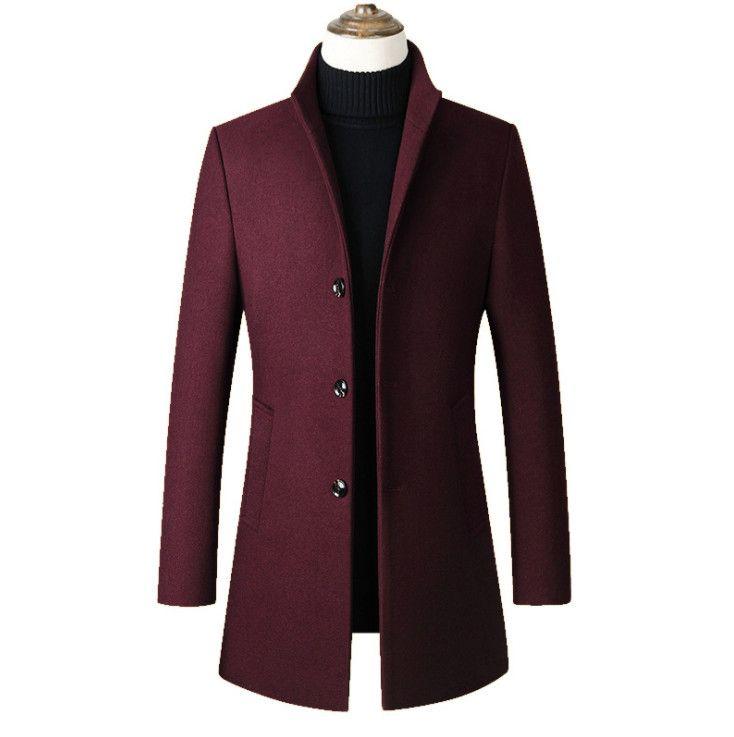 Longa Algodão homens de colarinho Fashon Trench única breasted Casual casaco de lã Coats Homens Wool Jacket Brasão Magro homens de colarinho