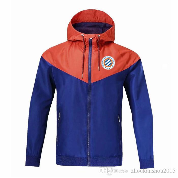Монпелье мужчин ветровка молния куртки, Montpellier капюшоном футбол Ветровка футбол куртка Спортивная полный молния пальто Мужская Jacketssh