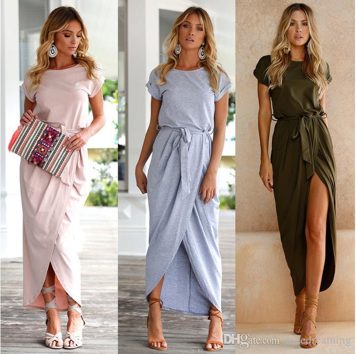 أزياء جديدة مثير النساء O-الرقبة فساتين قصيرة الأكمام الصيف شاطئ تونك الشمس عارضة فام Vestidos سيدة الملابس اللباس HOTSELL