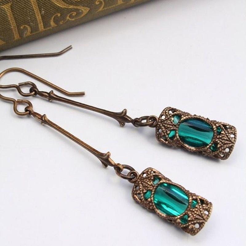 Pendientes compromiso de la boda nupcial verde pendientes naturales de cristal embutido luz del regalo del aniversario de color oro antiguo