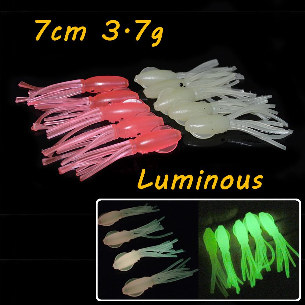 10pcs / lot Rosa Verde sete centímetros 3,7g Squid PVC Pesca Lure macias Iscas Lures Pesca Pesqueiro Acessórios BL_31