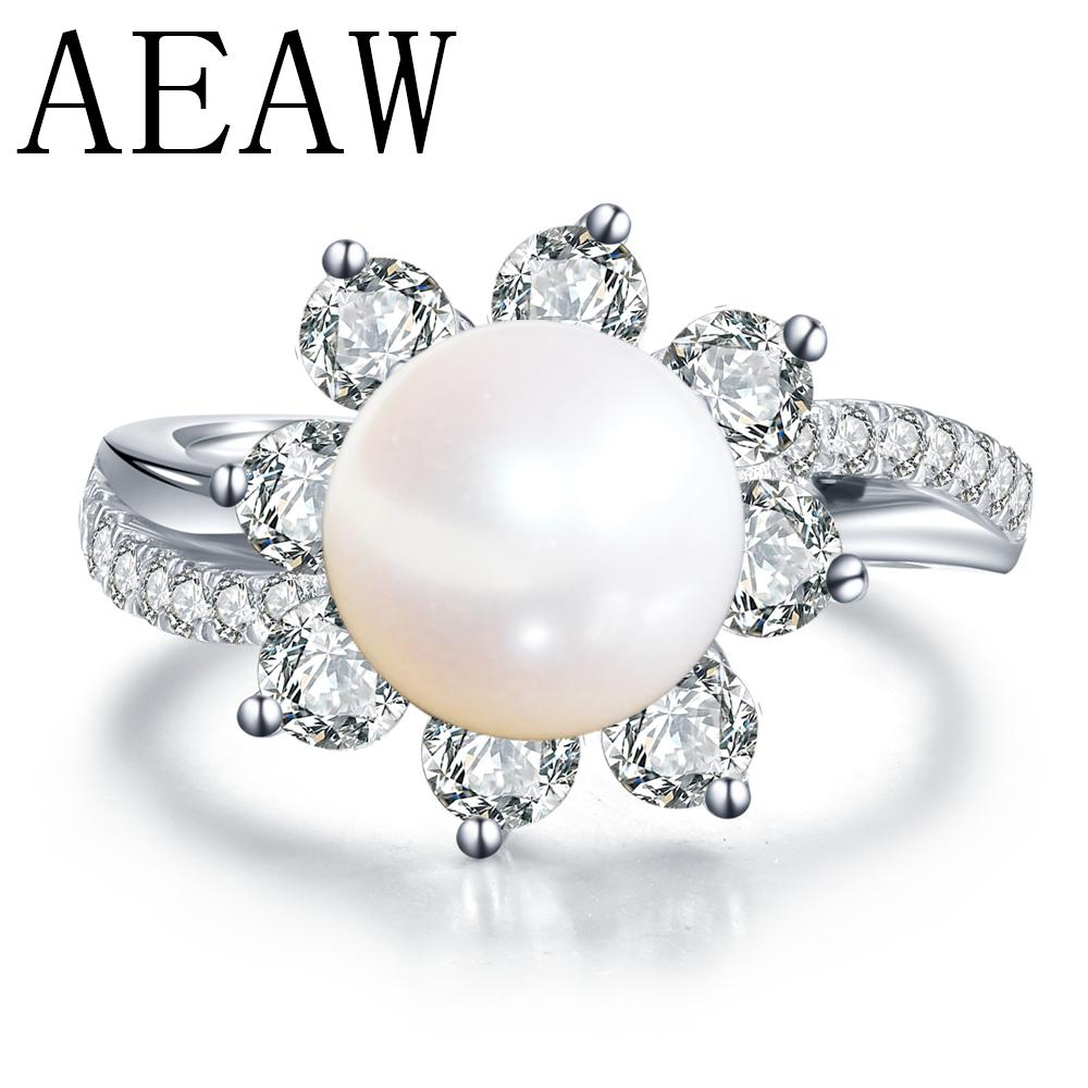 Real Wedding 14K White Gold Wedding Rings Round Natural Pearl Ring with Moissanite Ring Fine Jewelry Anniversary Women GirlsS1123
