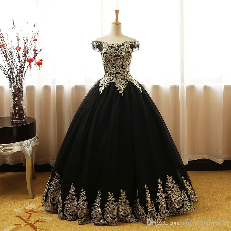 Black And Gold Ball Gown Evening Prom Dress Off the shoulder Lace With Sleeves Corset Back Long Cheap Formal Red Carpet Celebrity Dress