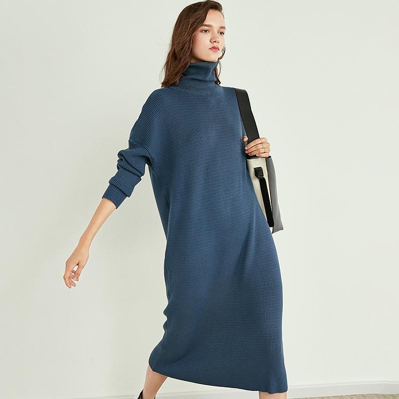 2019 New alta Collar Casual Longo Cashmere Knit Sweater fêmea Mulheres capuz de Slim outono morno Vestido de Inverno