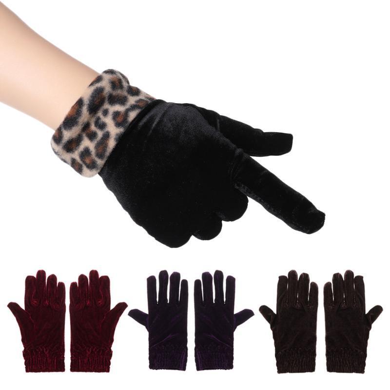 1 Pair Gold Velvet Full Finger Gloves Temperament Gold Velvet Solid Color Warm Gloves Female Thicken Autumn Winter Warm