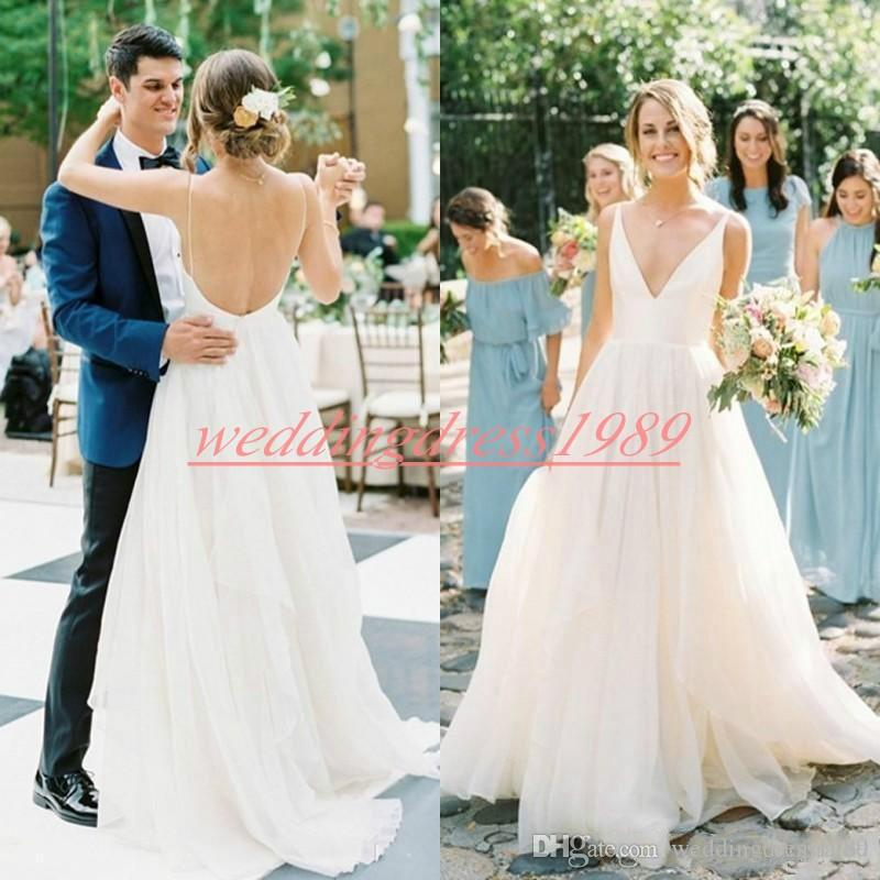 Einfache Art-Strand-Hochzeit Kleider Backless Sleeveless 2019 Land A-Line Brautball Open Back Zug Sommer-Braut-Kleid-Robe de mariée