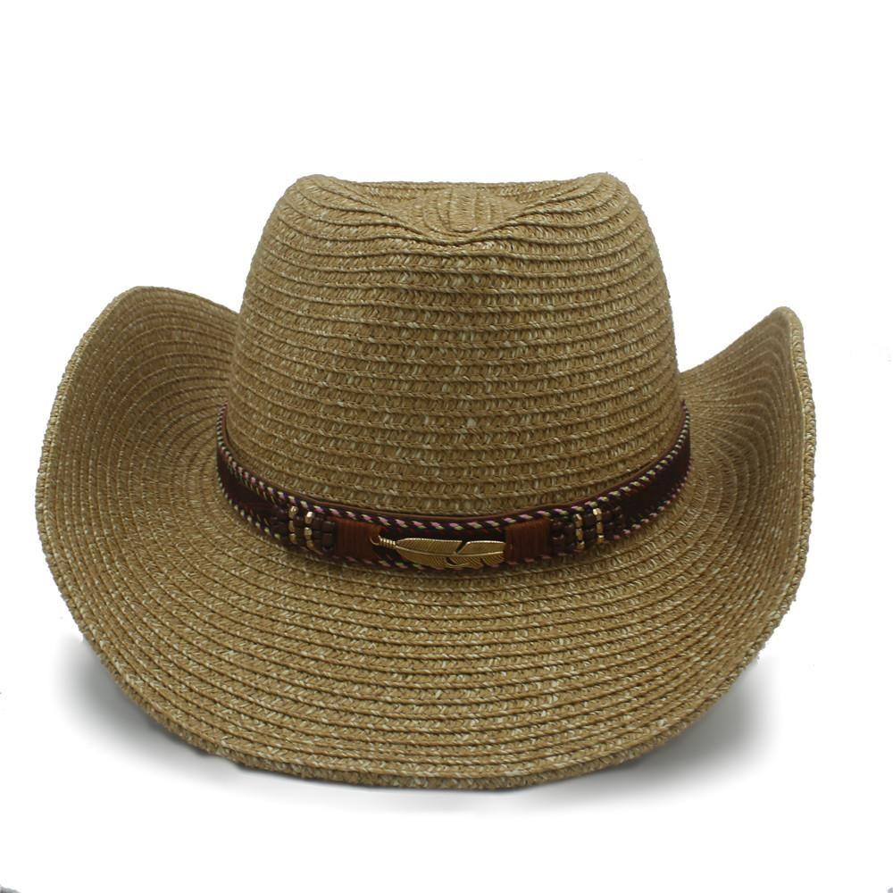 Verão Toquilla Straw Mulheres Hollow Men ocidental do chapéu de vaqueiro Com Handwork Leather For Dad Roll-up Cap Sombrero Jazz