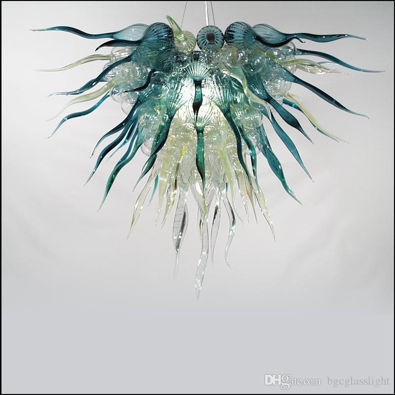 New Modern Tiffany-Stil mundgeblasenem Glas Kronleuchter Beleuchtung Decke Dekorative Murano Glas Pendelleuchten Glaspendelleuchten