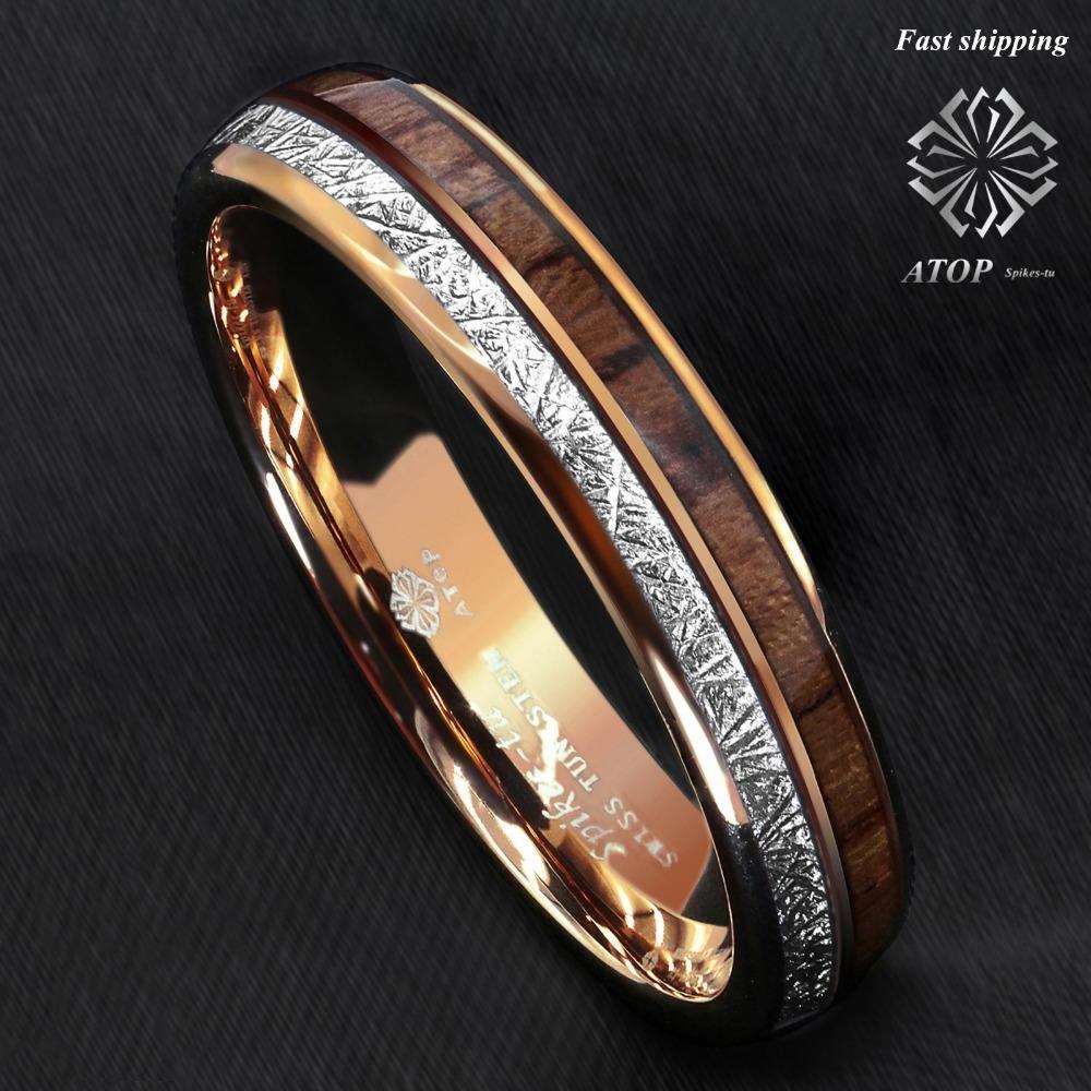 6 milímetros Rose Gold Dome tungstênio anel de prata Koa madeira nupcial embutimento SOBRE Homens Jóias V191217