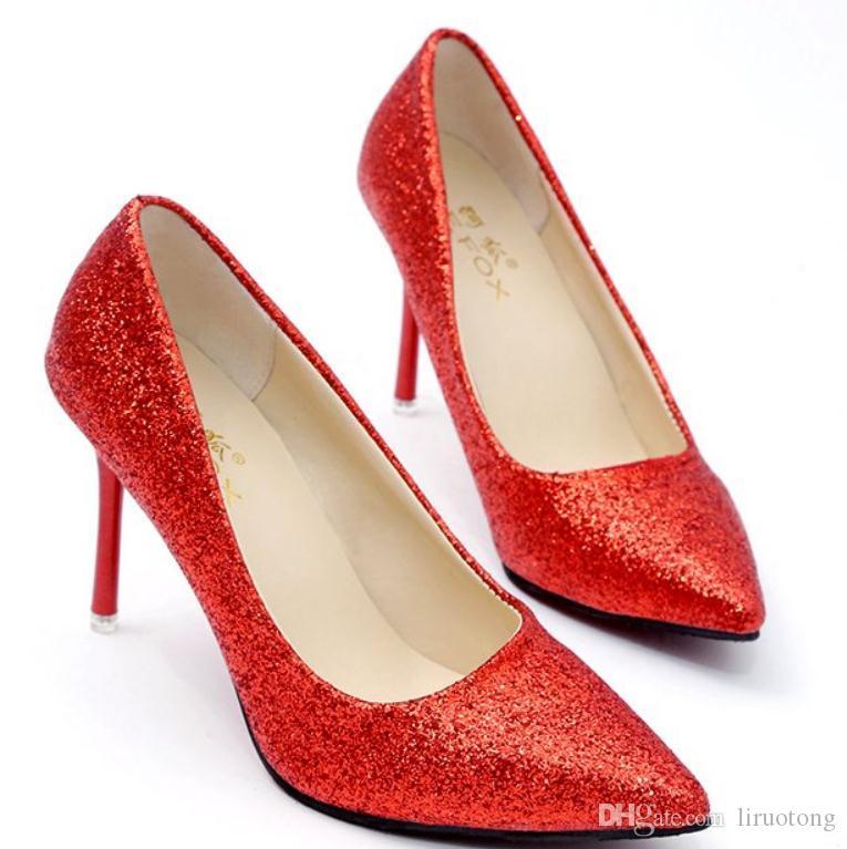 2018 반짝이는 천 새로운 스타일의 봄, 가을 여성 신발 높은 굽의 끝이가는 섬세한 힐