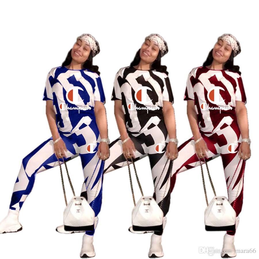 Kadın Şampiyonlar eşofman spor yaz colthes kontrast renk Mektuplar 2 parça set kısa kollu t-shirt tozluk artı boyutu s-3xl 208