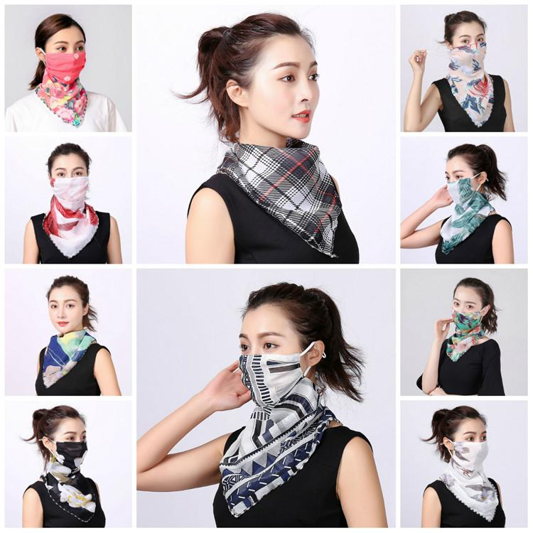 Women Scarf Face Mask Silk Chiffon Handkerchief Outdoor Windproof Half Face Dust-proof Sunshade Masks Scarf Dust Mask Party Masks T2I5796