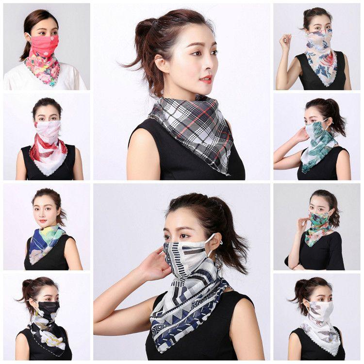 Frauen-Schal-Gesichtsmaske aus Seidenchiffon Handkerchief im Freien windundurchlässigen Helfen Face Staubdicht Sonnenschutz-Masken-Schal Staubmaske Partei-Schablonen T2I5796