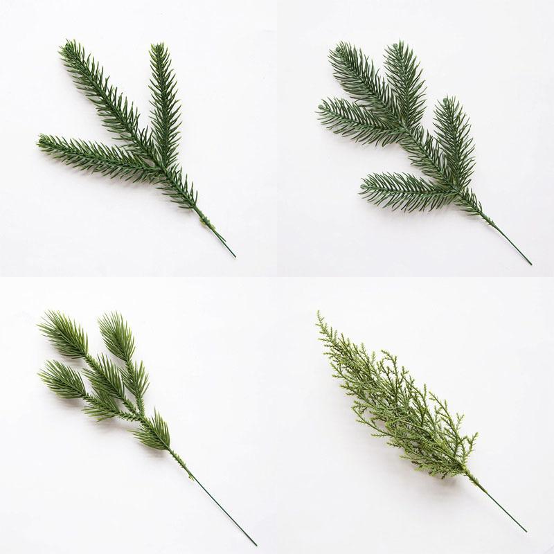 인공 소나무 바늘 크리스마스 트리 장식품 가짜 사이프러스 잎 식물 분기 크리스마스 장식 홈 파티 장식 62622