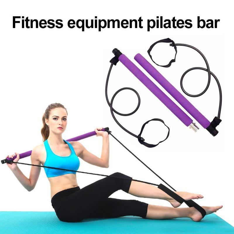 Las PC 1 Pilates barra con palo de resistencia con banda elástica portátil 2 Pie Loops Ligera Trainer Pilates Bar Gimnasio Palo
