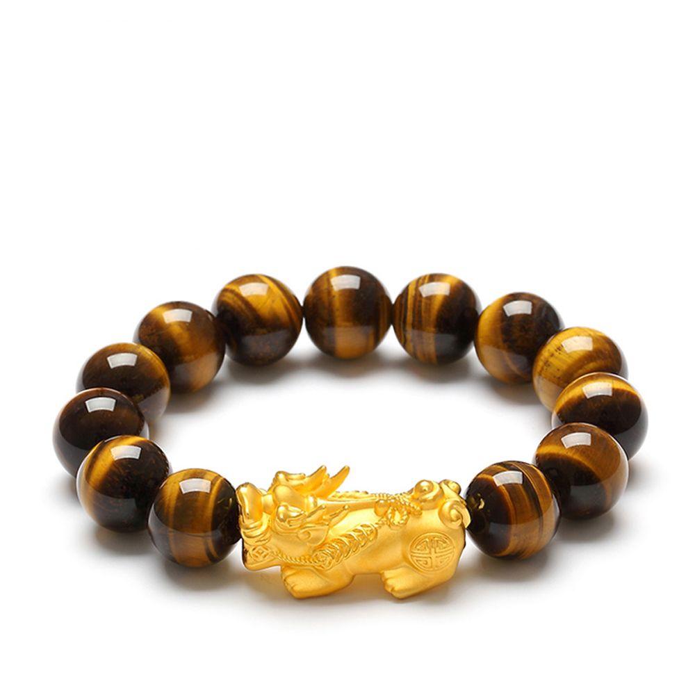 Natürliche Tigerauge Perlen Armband Gold plattiert Pixiu Charms Feng Shui Armband für Männer und Frauen