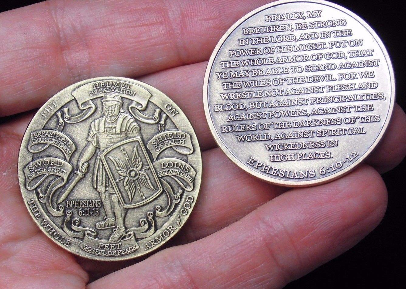 Ücretsiz Kargo 5 adet / grup, YENI Zırh tanrı'nın Yüksek Kabartma Efesliler 6: 11-13 Bronz Mücadelesi Coin.