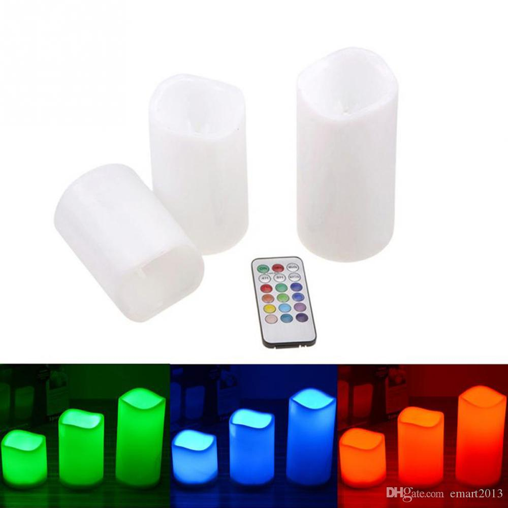 3pcs/lot Romantic colors changing Remote control ivory candle LED Wax Candles With Timer for Holiday party wedding Decoration