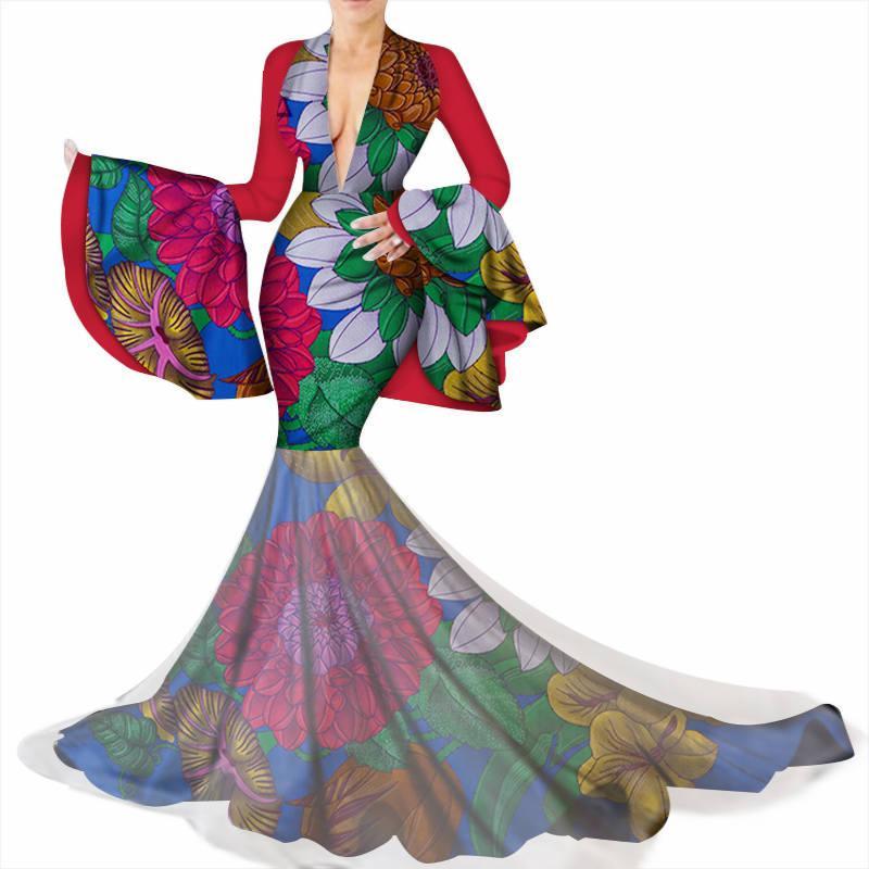 Африканские платья для женщин Базен Рич Flare рукавом Sexy глубокий V шеи партии свадебное длинное платье традиционный африканский одежда WY3449