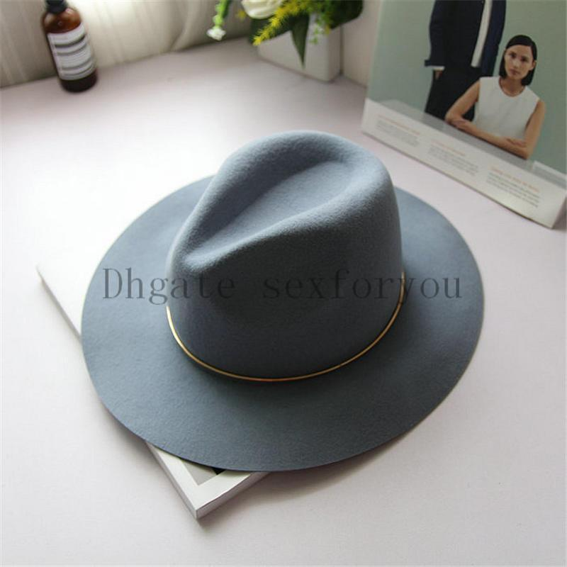 Women Wool Fedora with Metal Ring Wide Brim Panama Hat Winter Warm Jazz Caps Lady Church Hat