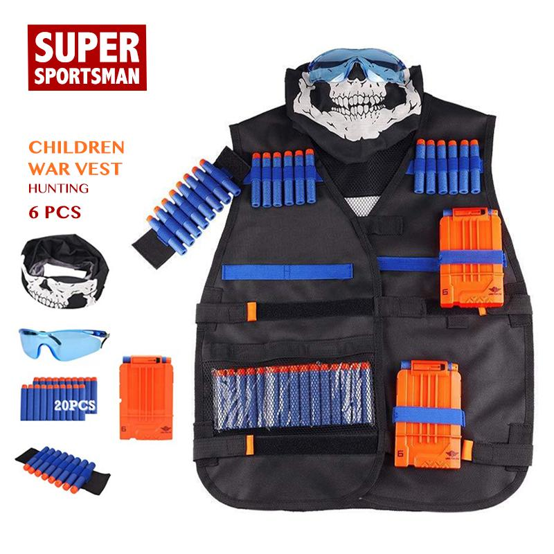Boys Men Hunting Equipment Tactical Vest Kids Army Gear Children Sniper Clothes Suits Outdoor Clothing Set 6pcs