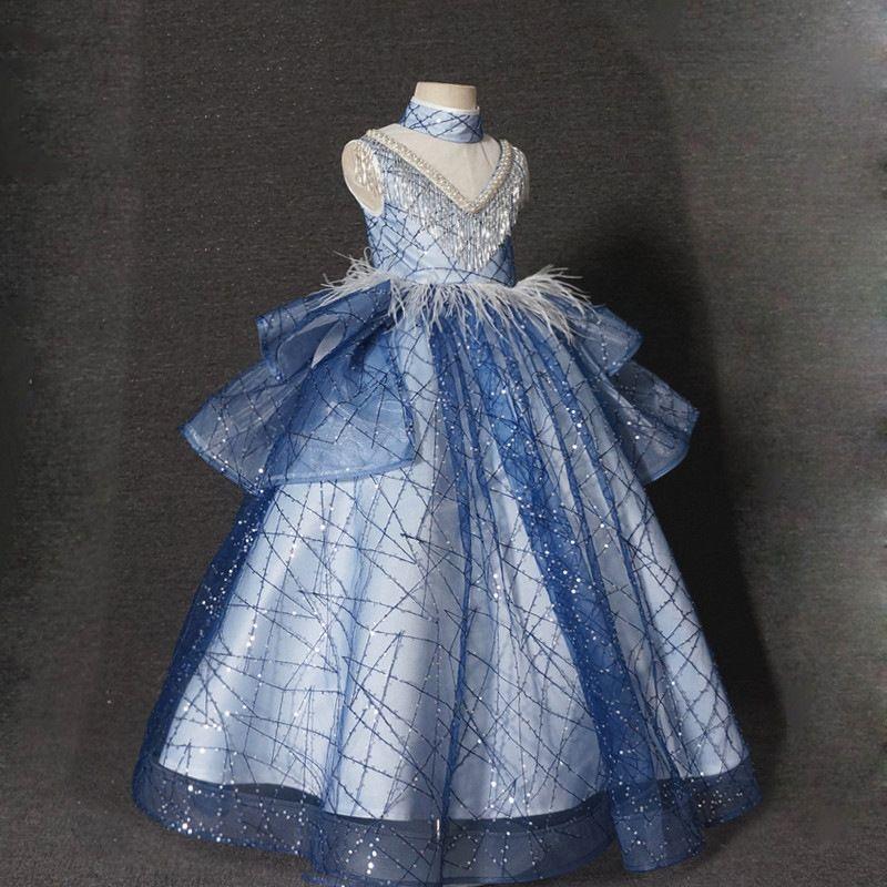 Royal Blue Ball Gown Girls Girls Abiti per matrimoni Sheer Neck Long Appliques Pizzo Tulle Bambini Abiti da sposa Abiti da sposa Girls Pageant Dress