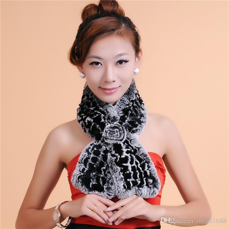 Роскошный переплетения мех женщин теплый зимний шарф высокое качество новая мода женщины зимний шарф 100% мех бесплатная доставка