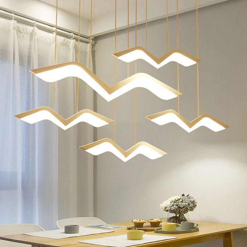Moderna Lampadario Led Lustre Lampada a sospensione Illuminazione Hanglamp bianco Telecomando Cucina Sala da pranzo Apparecchio per la decorazione dell'ufficio